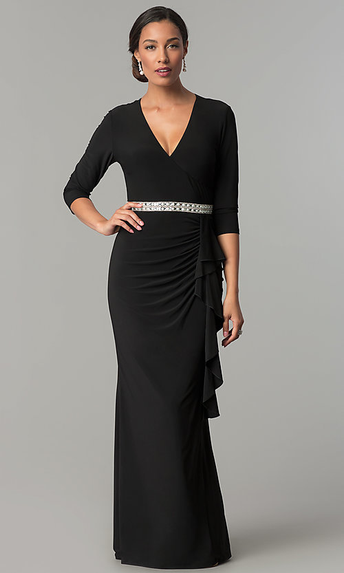 Image of black mother-of-the-bride long v-neck dress. Style: JU-MA-264155 Front Image