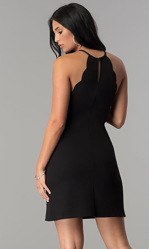 Image of high-neck short sheath party dress with scallops. Style: JU-10262 Back Image