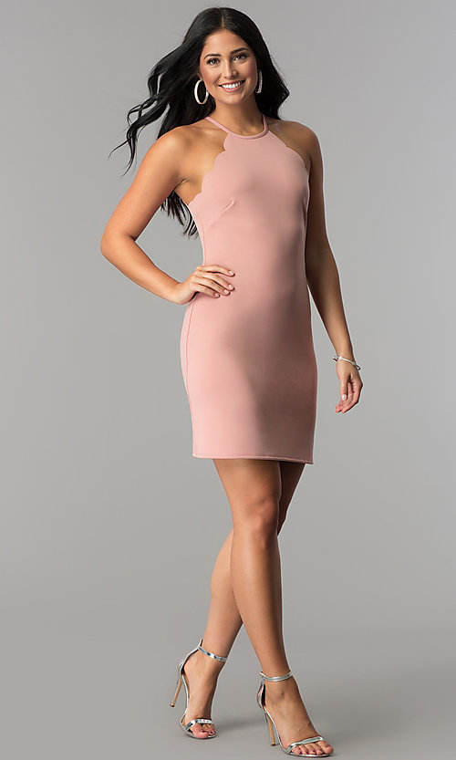 Image of high-neck short sheath party dress with scallops. Style: JU-10262 Detail Image 1