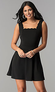 Short Square-Neck Little Black Party Dress
