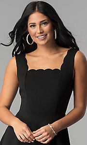 Image of short square-neck little black party dress. Style: JU-10266 Detail Image 1