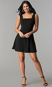 Image of short square-neck little black party dress. Style: JU-10266 Detail Image 2