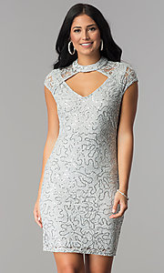 Sequin Lace Short Wedding-Guest Dress