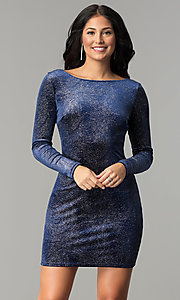 Image of velvet long-sleeve short party dress with glitter. Style: JU-10352 Detail Image 2