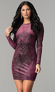 Image of velvet long-sleeve short party dress with glitter. Style: JU-10352 Front Image