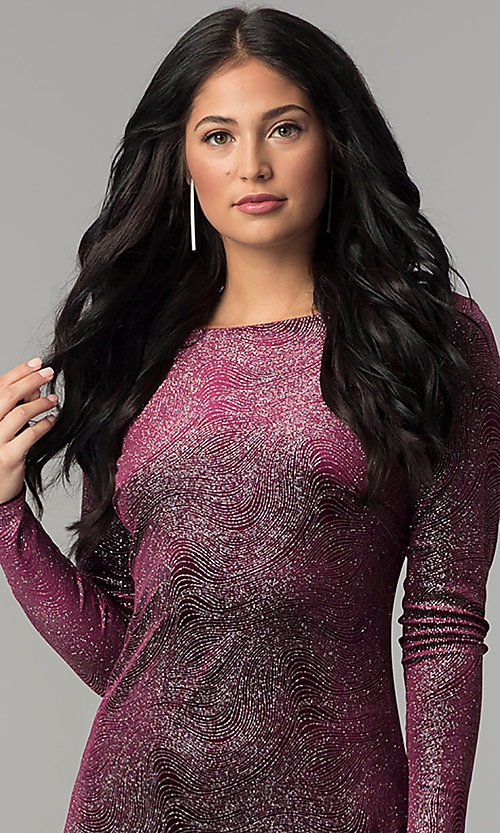 Image of velvet long-sleeve short party dress with glitter. Style: JU-10352 Detail Image 1
