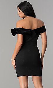 Image of short off-the-shoulder black party dress by Jump. Style: JU-10450 Back Image