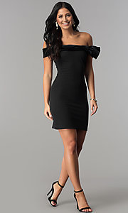Image of short off-the-shoulder black party dress by Jump. Style: JU-10450 Detail Image 2
