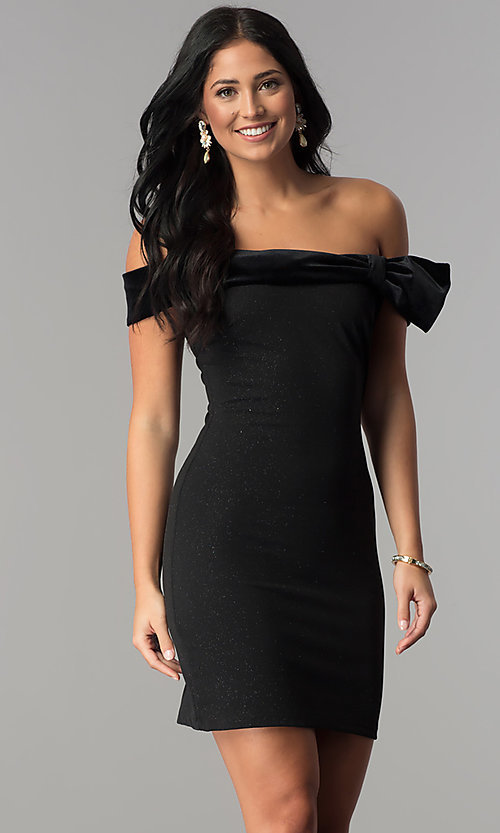 Image of short off-the-shoulder black party dress by Jump. Style: JU-10450 Front Image