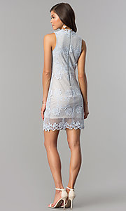 Image of light blue lace wedding-guest dress with nude lining. Style: JTM-JD6903-A Detail Image 2