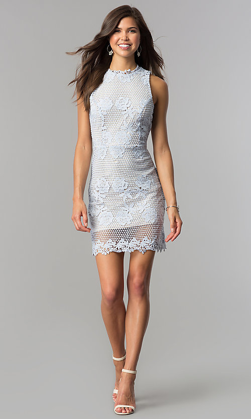 Image of light blue lace wedding-guest dress with nude lining. Style: JTM-JD6903-A Detail Image 1