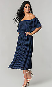 Tea-Length Off-Shoulder Wedding-Guest Pleated Dress