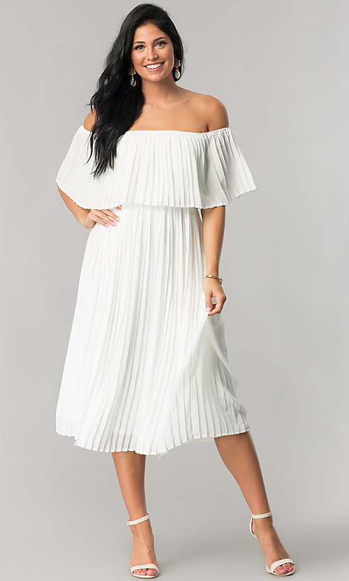 Image of tea-length off-shoulder wedding-guest pleated dress. Style: JTM-JD7462 Detail Image 1