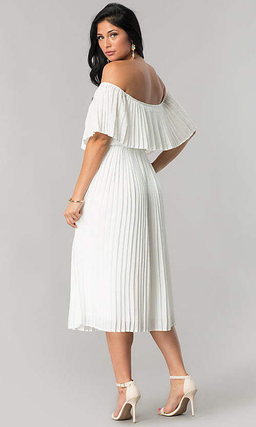 Image of tea-length off-shoulder wedding-guest pleated dress. Style: JTM-JD7462 Back Image
