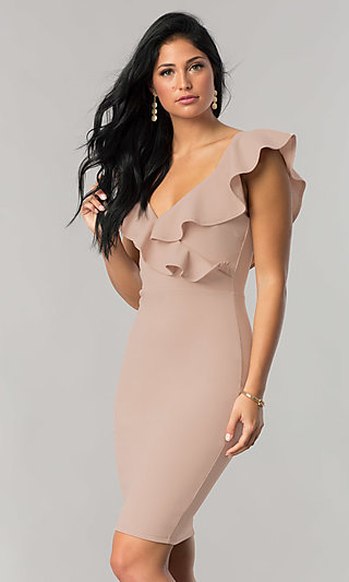 Knee-Length Wedding-Guest Dress with Ruffled V-Neck