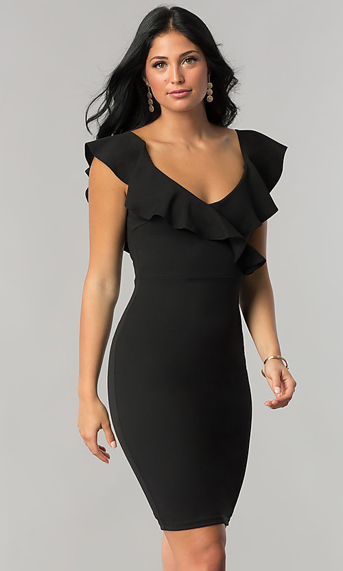 Image of knee-length wedding-guest dress with ruffled v-neck  Style: JTM-JD7906 Detail Image 2