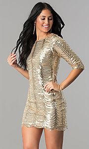 Image of scalloped-sequin gold short party dress with sleeves. Style: VE-638-213977 Front Image