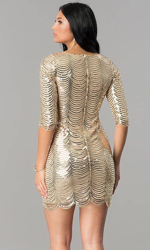 Image of scalloped-sequin gold short party dress with sleeves. Style: VE-638-213977 Back Image
