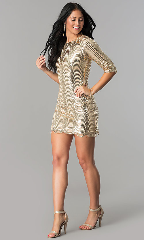 Image of scalloped-sequin gold short party dress with sleeves. Style: VE-638-213977 Detail Image 1