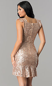 Image of short cap-sleeve sequin party dress with flounce hem. Style: VE-628-210343 Back Image