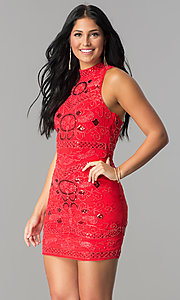 Image of high-neck racerback short embellished party dress. Style: VE-628-213910-1 Front Image