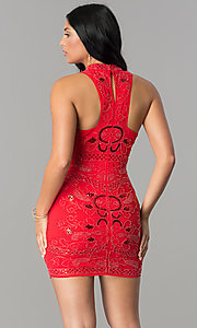 Image of high-neck racerback short embellished party dress. Style: VE-628-213910-1 Back Image