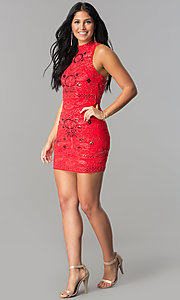 Image of high-neck racerback short embellished party dress. Style: VE-628-213910-1 Detail Image 1