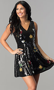 Sequin Party Dress with Embroidered Details