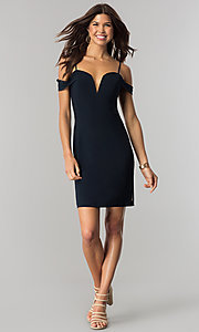 Image of short indigo blue party dress with notched v-neck. Style: CT-8415XZ3AT3 Detail Image 1