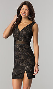 Short V-Neck Black Lace Party Dress with Peach Lining