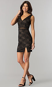 Image of short v-neck black lace party dress with peach lining. Style: CT-3000UG2BT3 Detail Image 1