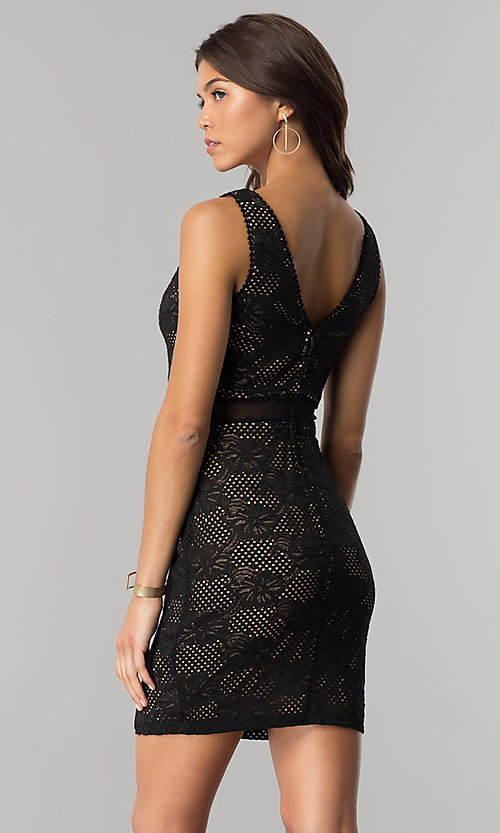 Image of short v-neck black lace party dress with peach lining. Style: CT-3000UG2BT3 Back Image
