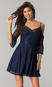 Image of short navy lace casual party dress with bell sleeves. Style: CT-3427ZZ6BT1 Front Image