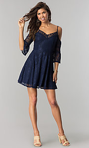 Image of short navy lace casual party dress with bell sleeves. Style: CT-3427ZZ6BT1 Detail Image 1