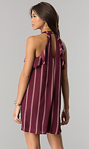 Image of short wine red casual shift dress with pink stripes. Style: CT-2216VR1BT1 Back Image