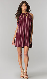 Image of short wine red casual shift dress with pink stripes. Style: CT-2216VR1BT1 Detail Image 1