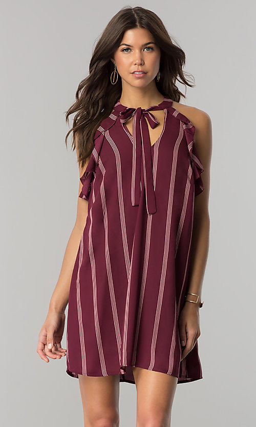 Image of short wine red casual shift dress with pink stripes. Style: CT-2216VR1BT1 Front Image