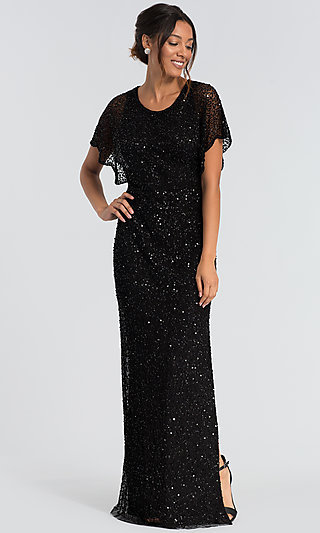 Black Allover Sequin Formal MOB Gown