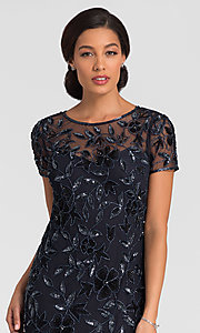 Imager of twilight blue short sleeve long sequin MOB dress. Style: AP-091897240-T Detail Image 1