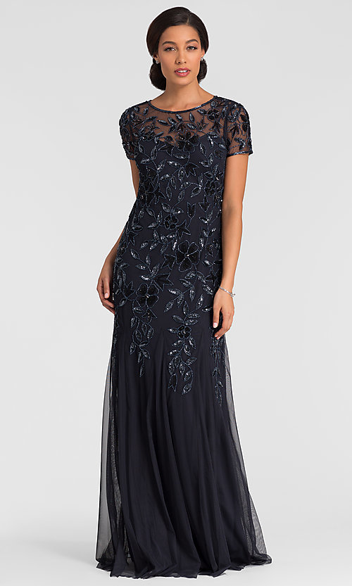 Imager of twilight blue short sleeve long sequin MOB dress. Style: AP-091897240-T Front Image