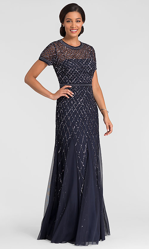 Image of long formal short sleeve sequin MOB dress in navy. Style: AP-091904940-N Front Image