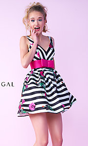 Fit-and-Flare Striped Short Homecoming Dress