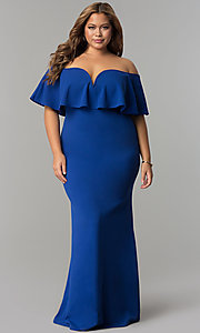 Long Off-the-Shoulder Formal Plus Dress with Flounce