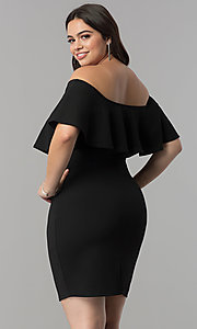 Image of off-the-shoulder flounce plus-size short party dress. Style: SY-XD22096A Back Image