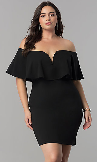 off-the-shoulder plus-size short party dress -promgirl
