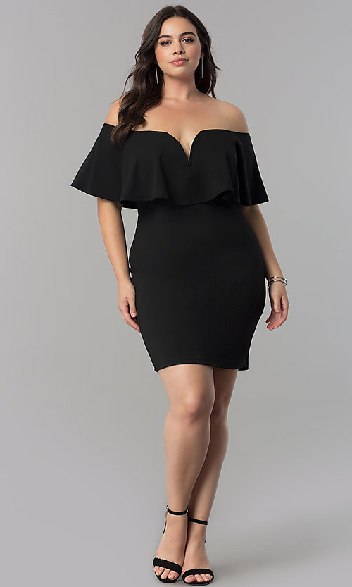 Image of off-the-shoulder flounce plus-size short party dress. Style: SY-XD22096A Detail Image 1