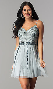 Image of v-neck banded-waist blue short homecoming party dress. Style: JU-10393i Front Image