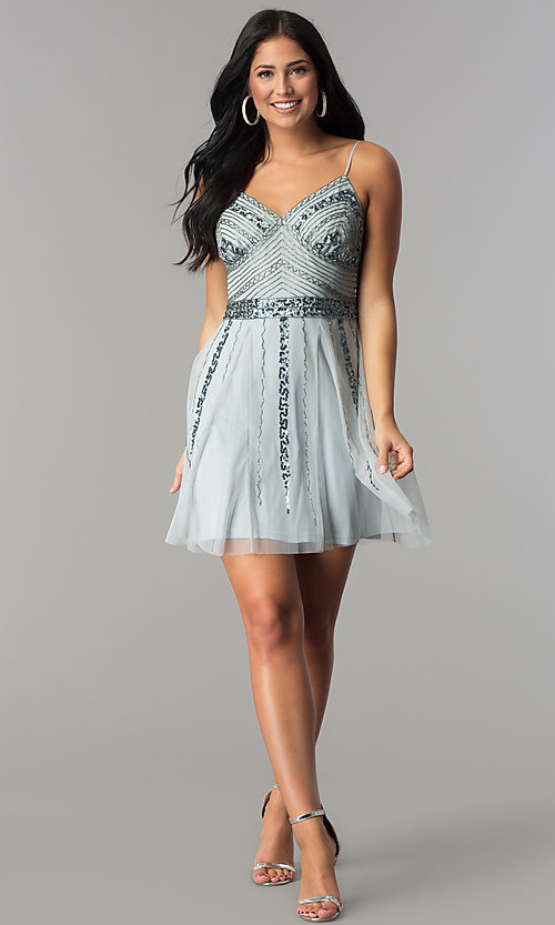 Image of v-neck banded-waist blue short homecoming party dress. Style: JU-10393i Detail Image 2