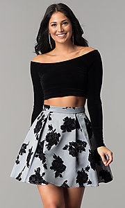 Image of two-piece velvet-top short homecoming party dress. Style: JU-10432 Front Image