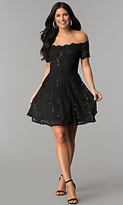 Image of sequin-lace off-shoulder short a-line party dress. Style: JU-10386 Detail Image 3